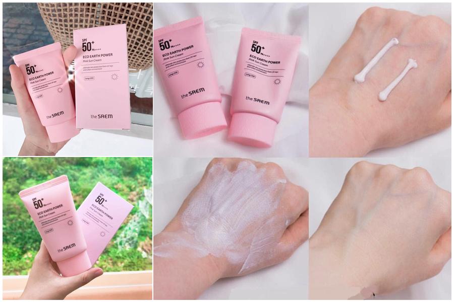 Kem chống nắng The Saem Eco Earth Pink Power thích hợp cho nhạy cảm và da trẻ em