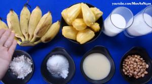 Nguyên liệu làm kem chuối mít sữa dừa