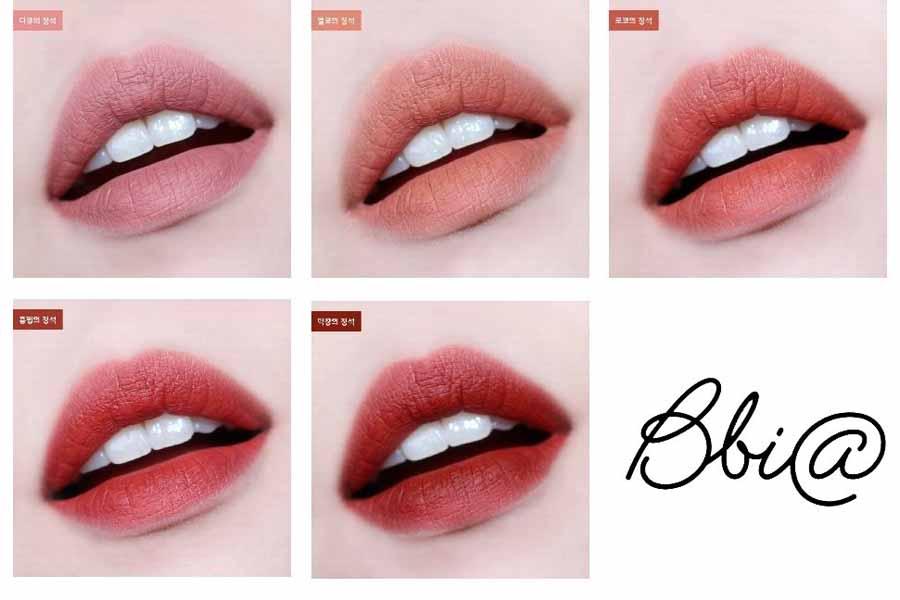 Bảng màu Bbia Last Velvet Lip Tint Version 5khi đánh lên môi