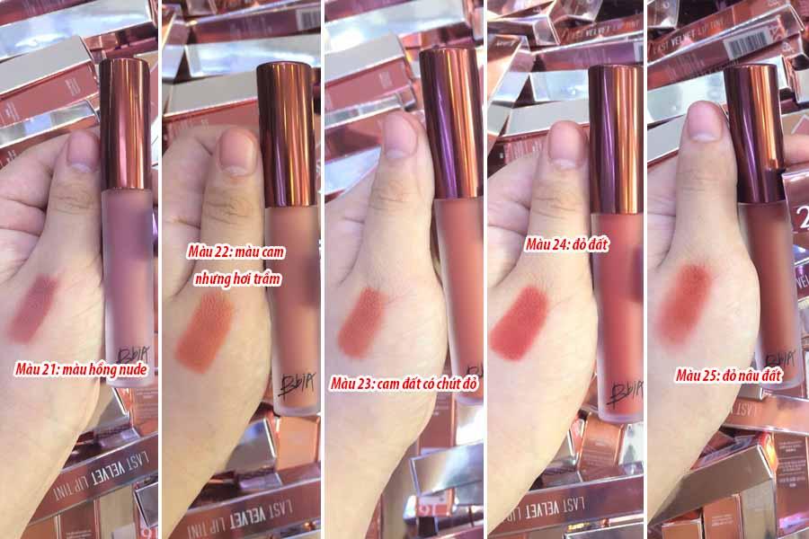 Hình ảnh các màu son Bbia Last Velvet Lip Tint Version 5 khi test trực tiếp lên tay
