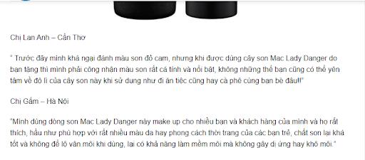 Khách hàng đánh giá khi sử dụng son MAC Lady Danger