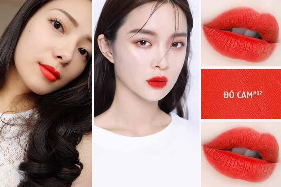 Màu đỏ cam khi đánh lên môi những bạn da trắng sẽ cực nổi bật và tạo điểm nhấn cho khuôn mặt
