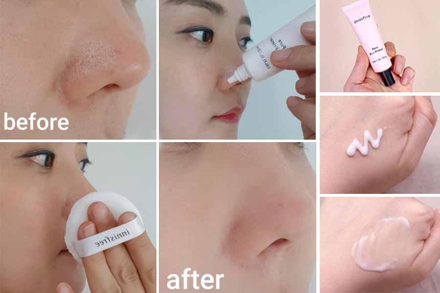 Review kem lót innisfree pore blur primer khi test trên da mặt