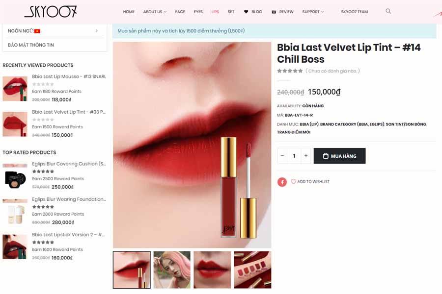 Sản phẩm đang được bán trên website chính hãng với giá 150.000 vnđ