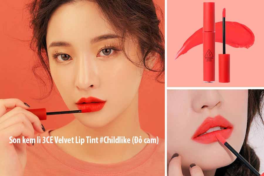 Son kem lì 3CE Velvet Lip Tint màu #Childlike là thỏi son rất được ưa chuộng tại Việt Nam